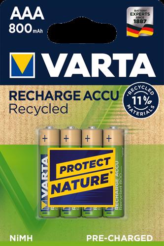 Batterij oplaadbaar Recycled Varta 4xAAA 800mAh ready2use