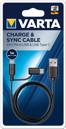 Batterij Varta Speed Charge & Sync Cable 2in1 Micro USB & USB Type C