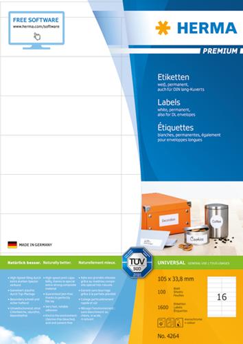 Herma 4264 Premium Etiketten 105 x 33.8 mm - Wit