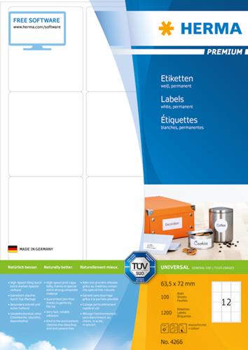 Herma 4266 Premium Etiketten 63.5 x 72 mm - Wit
