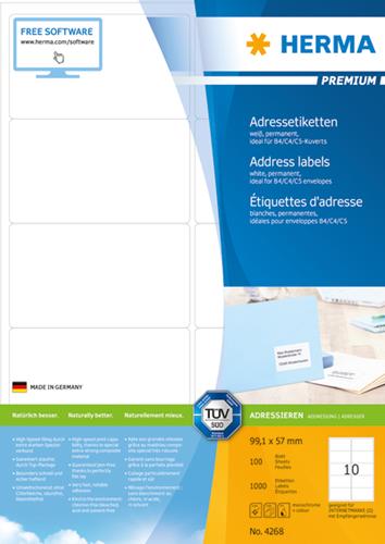 Herma 4268 Premium Etiketten 99.1 x 57 mm - Wit
