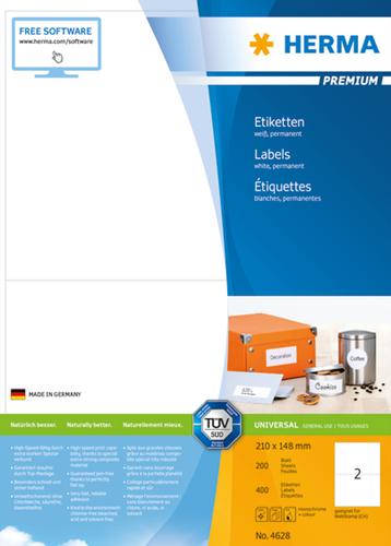 Herma 4628 Premium Etiketten 210 x 148 mm - Wit