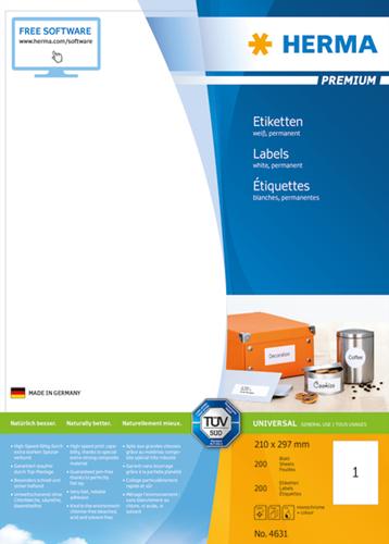 Herma 4631 Premium Etiketten 210 x 297 mm - Wit