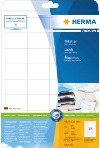 Etiket Herma 4200 Premium, 48.3 x 33.8 mm, wit
