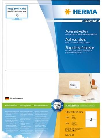 Herma 4249 Premium Etiketten 199.6 x 143.5 mm - Wit