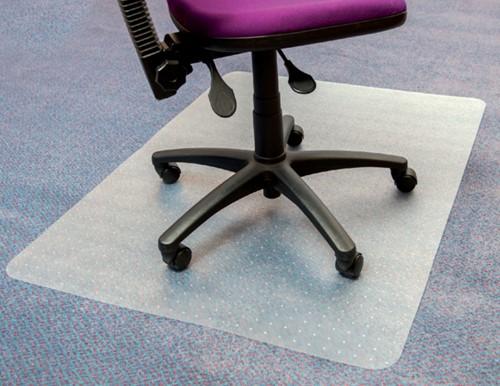 Stoelmat Floortex PVC 120x90cm zachte vloeren 50% gerecycled meer grip