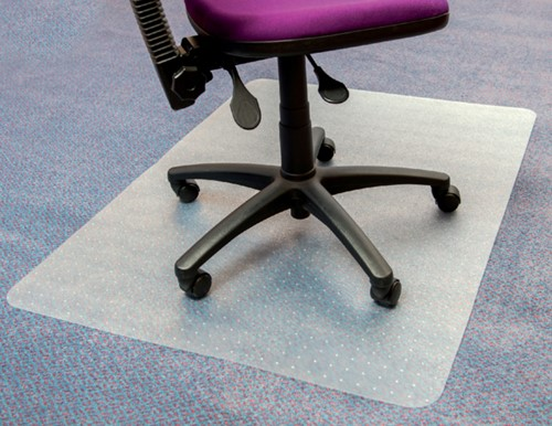 Stoelmat Floortex PVC 150x120cm zachte vloeren 50% gerecycled meer grip