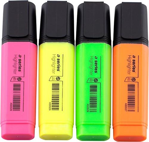 Markeerstift assorti - 4 kleuren (roze/geel/groen/oranje)
