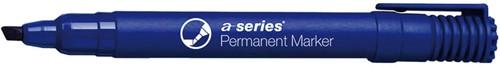 Permanent marker blauw, beitelpunt, kunststof barrel
