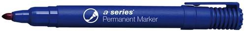 Permanent marker blauw, ronde punt, kunststof barrel