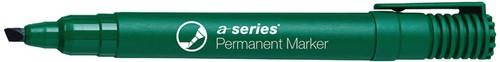 Permanent marker groen, beitelpunt, kunststof barrel