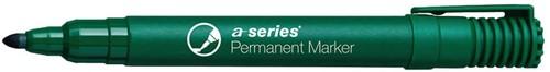 Permanent marker groen, ronde punt, kunststof barrel