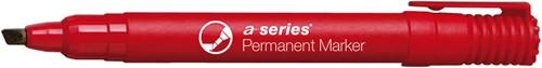 Permanent marker rood, beitelpunt, kunststof barrel