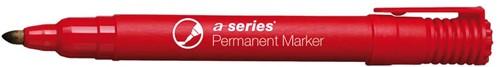 Permanent marker rood, ronde punt, kunststof barrel
