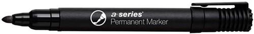 Permanent marker zwart, ronde punt, kunststof barrel